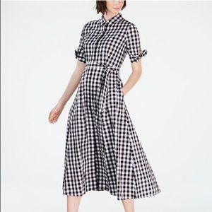 Calvin Klein Petite Gingham-Print Midi Dress